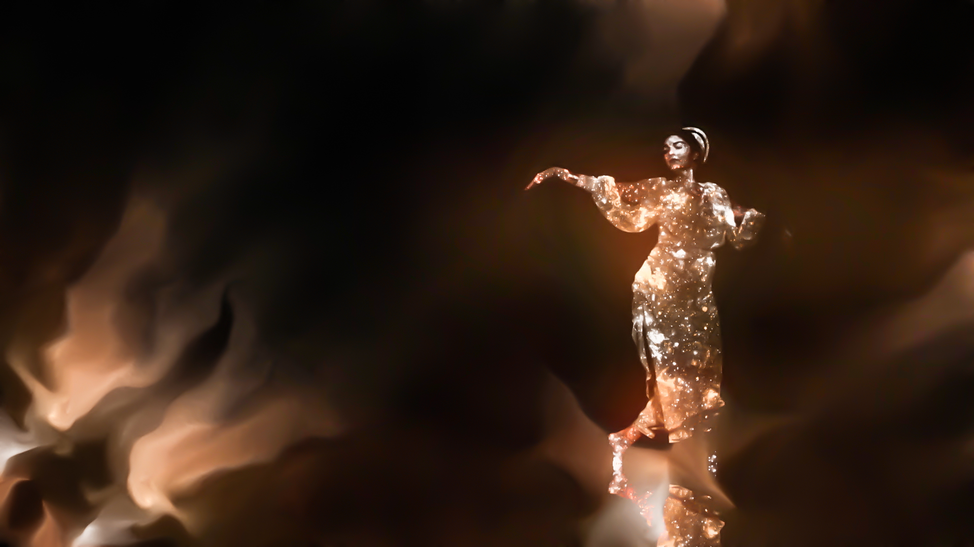"Odissi dancer Antonia Rasovan in Thy Veils' video ""Mountain And Cloud"""
